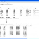 Sample test output report for battery test software